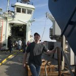 WHOI marine geologist Adam Soule went straight from bed to ball (the nickname for Alvin's personnel sphere), oversleeping before his dive Friday.
